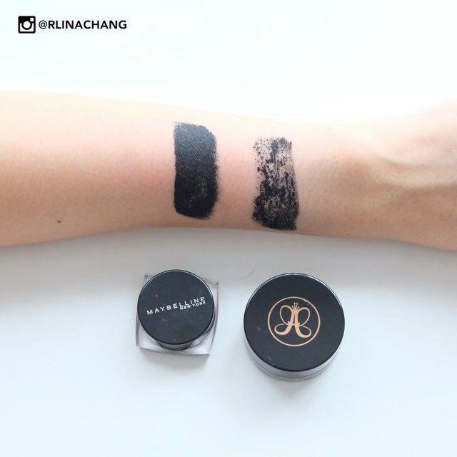 "[Product Review] Liquid eyeliner: Anastasia Beverly Hills Warerproof creme color ""Jet"" vs. Maybelline eyestudio lasting drama gel eyeliner ""Black"" #maybelline #anastasiabeverlyhills #eyeliner #makeup #beauty #tips #review Follow: http://instagram.com/rlinachang"
