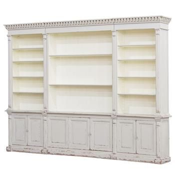 Laundress French Country Distressed Grey Large Display Bookcase. #kathykuohome