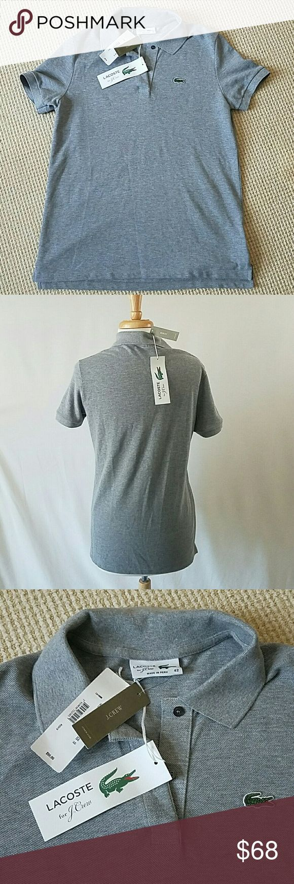 Lacoste for J. Crew gray polo shirt size 42/10 NWT Lacoste for J. Crew classic grey polo shirt size 42 FR US 10.  Retailing now for $98! New with tags. Too big for me!  (I normally wear a lacoste 38, not sure what I was thinking! Will also fit an 8 I think if you like a loose fit. J. Crew Tops
