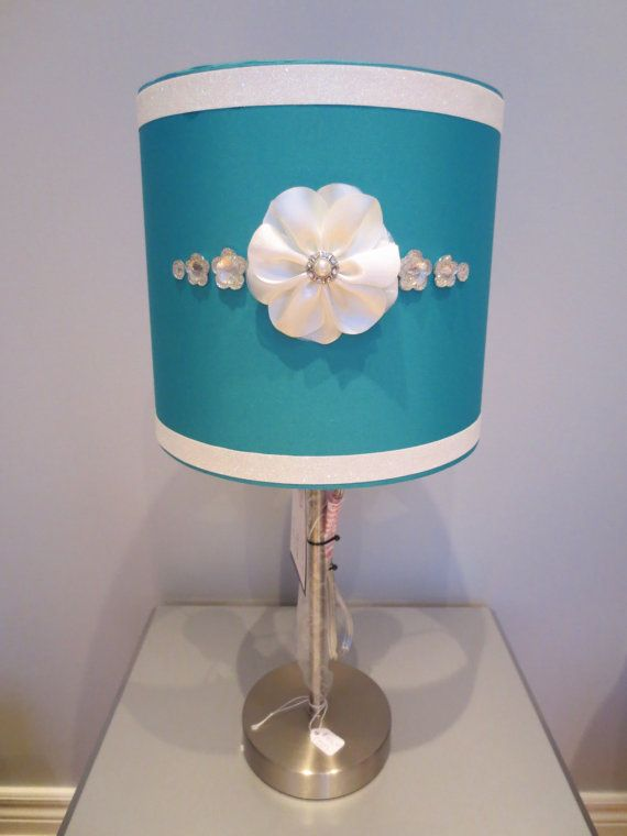 Girly Glam Lamp with teal lamp shade white floral embellishment - Girly lamp shades