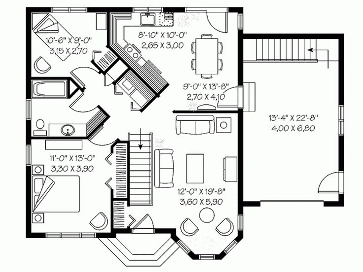 European Style House Plan 2 Beds 1 Baths 976 Sq Ft Plan 23 643 House Plans Floor Plan Design Floor Plans