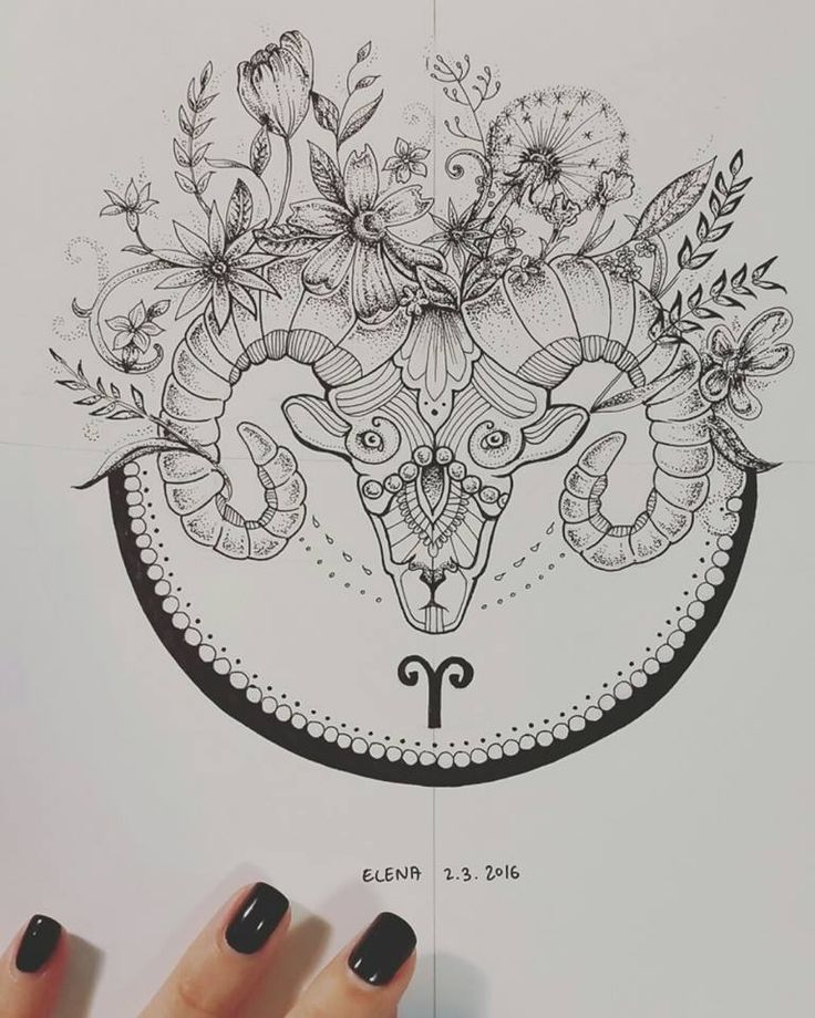 Aries Mandala Art - Dotwork by elenoosh.deviantart.com on @DeviantArt