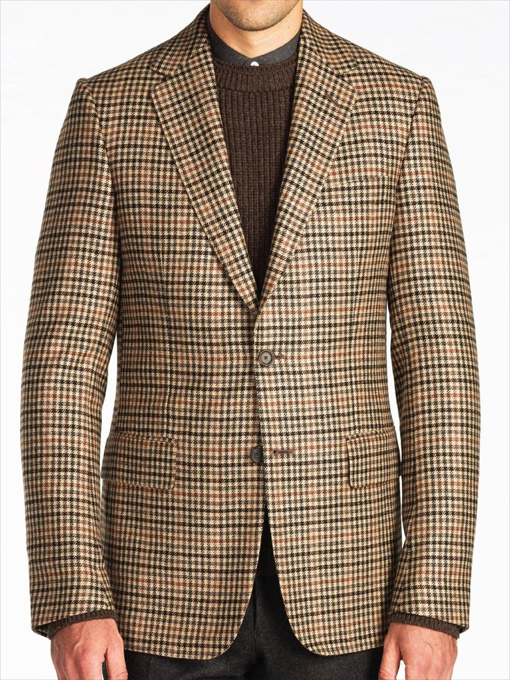 Handmade Soft Brown Guncheck Pure Cashmere Sportscoat