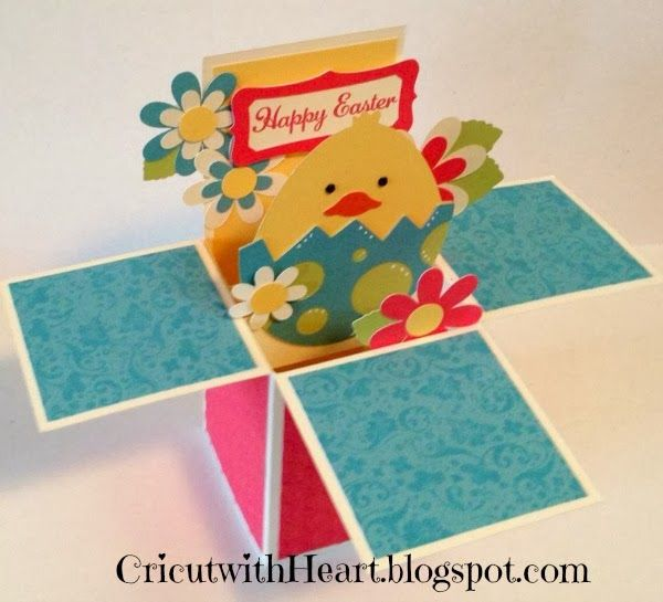 Easter Pop Up Box card - Cricut with Heart
