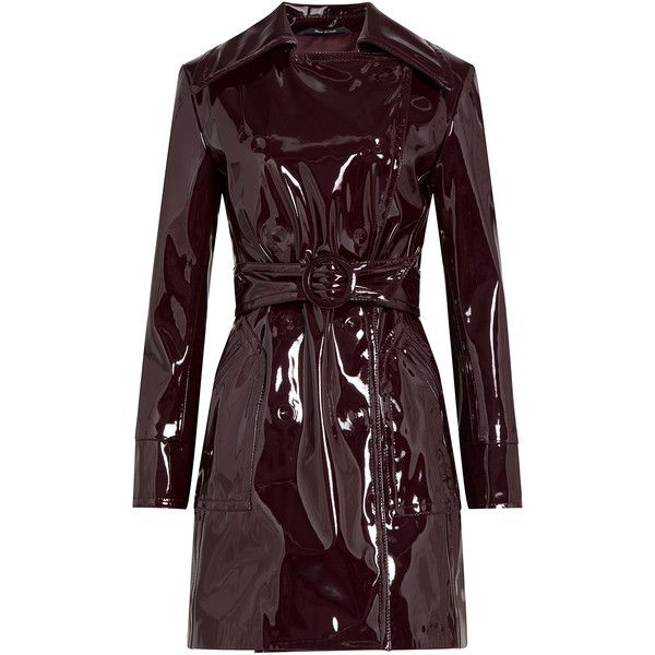 Maison  Margiela Patent Trench Coat (158,795 DOP) ❤ liked on Polyvore featuring outerwear, coats, red, slim fit trench coat, red trenchcoat, slim coat, slim trench coat and red coat