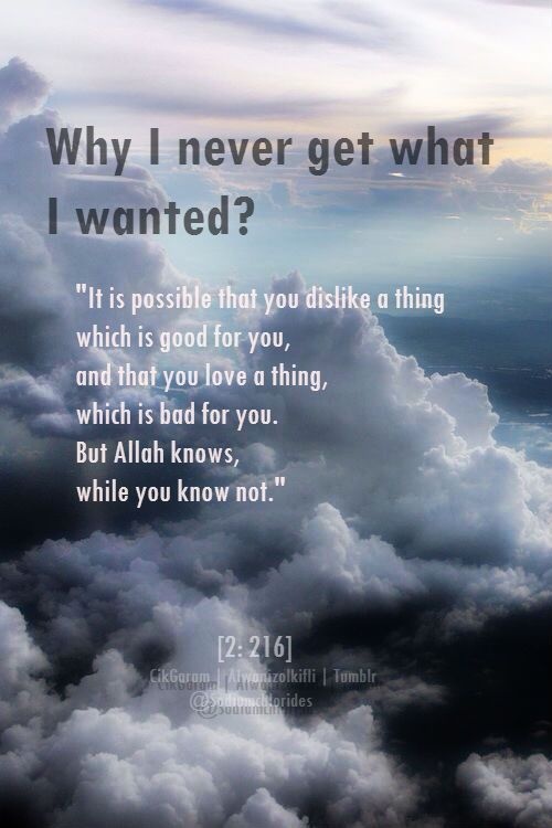"Why? When we lose a job, or find ourselves unable to marry who we want, or something is taken from us, have we ever stopped to consider the possibility that it may have been for our own good? Allah tells us in the Quran: ""But perhaps you hate a thing and it is good for you; and perhaps you love a thing and it is bad for you. And Allah Knows, while you know not."" [Quran] I absolutely LOVE this Ayah. It answers so many questions about life"