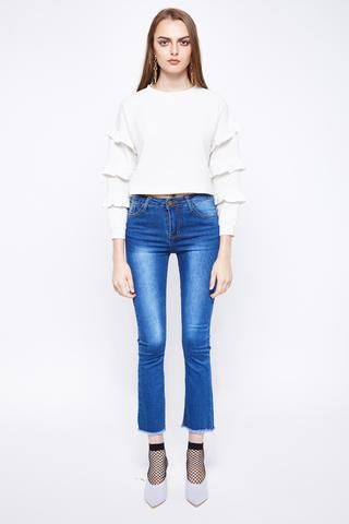 BELLE   Cropped Bell Bottom Jeans With Frayed Hem