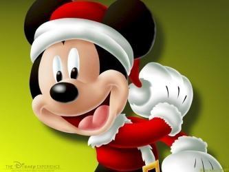 Mickey Mouse verkleed als kerstman