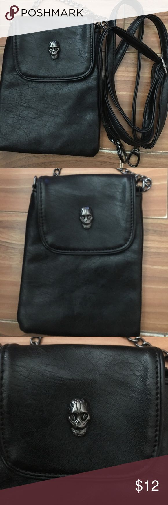 """NEW BLACK 3 IN 1 SKULL CROSSOVER BAG BRAND NEW 3 IN. 1 BLACK HAND WAIST CROSSOVER SKULL BAG APPROX 7"""" by 5"""" by 3 NEW WITH TAG FAUX LEATHER Bags Crossbody Bags"""