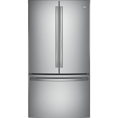 GE® offers an Energy Star® qualified french-door bottom-freezer refrigerator with a 28.5 cu. ft. capacity. The stainless steel appliance features a factory-installed icemaker with a water filtration system, internal controls with actual-temperature display and LED lighting. The freestanding unit also provides TwinChill™ evaporators and Frost guard.