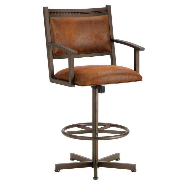 "Iron Mountain 2405326 Humphrey Tilt Swivel Counter Stool 26"" Seat Height w/ Mayflower Cocoa Fabric - Inca/Bronze"