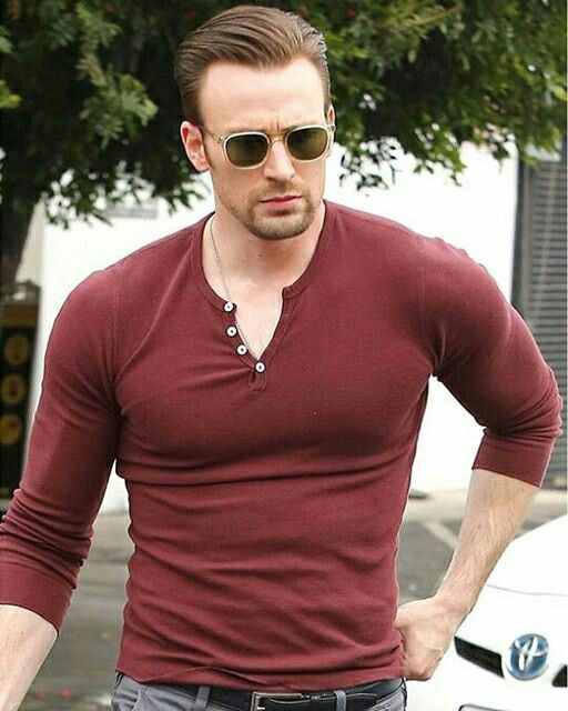 I aint' complaining, but honey, chris, oyu might need a bigger shrt... Or you know... none at all