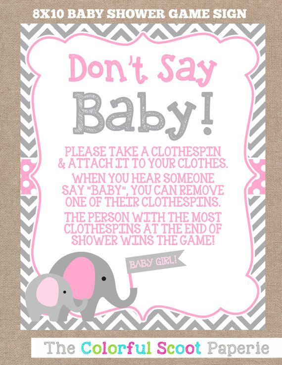 Instant Download Elephant Baby Shower Don T Say Baby Game Don T