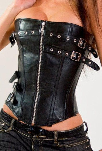 Love this and it easily could be worn again! Zipper Faux Leather gothic Corset women bustier sexy body top lingerie club wear in Corsets & Bustiers | eBay