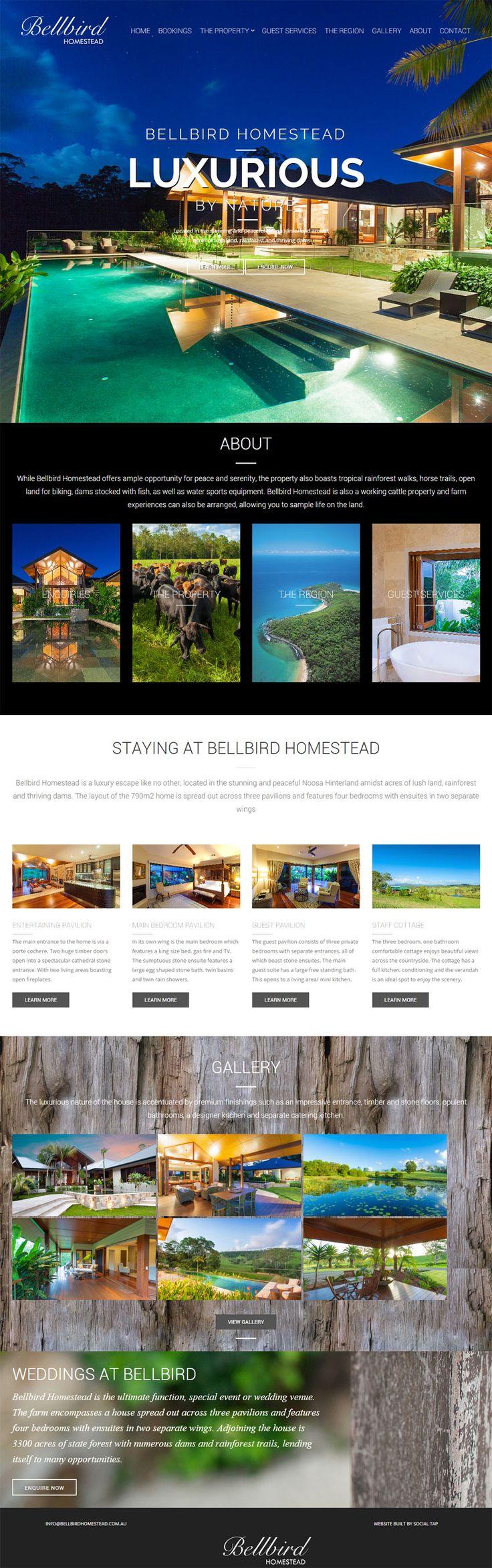 Website design for Bellbird Homestead Luxury Accommodation & Tourist Destination in Cooroy QLD, Australia. Websites for Hospitality, Tourism, Food & Wine designed & built by SocialTap.com.au
