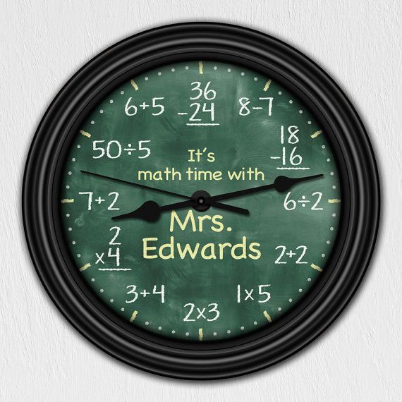 Math Equation Chalkboard Elementary Personalized Decorative Wall Clock on Etsy, $19.95
