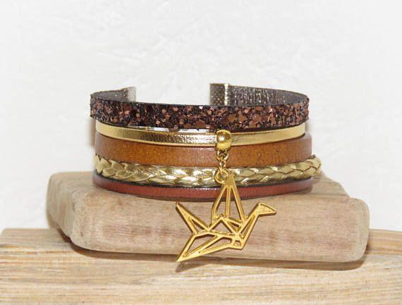 Bracelet Manchette marron brun doré cuir suédine
