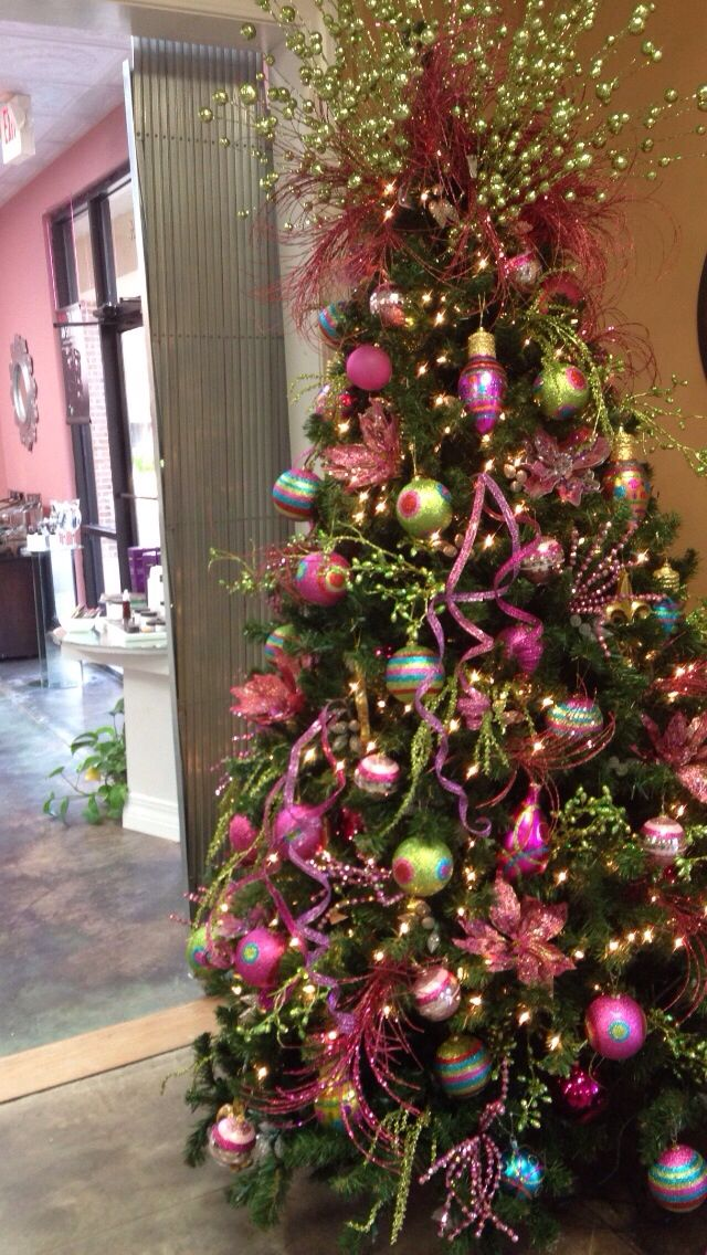 Pink Lime Christmas Tree In The Decorations