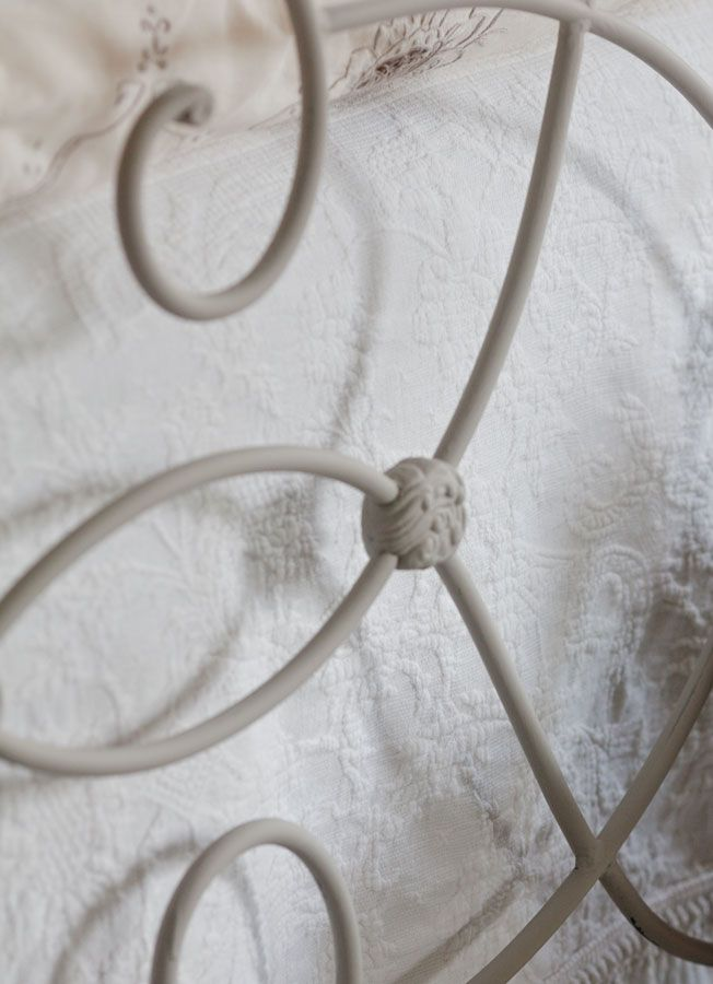 """detail-on-painted-iron-bed painted with two coats chalk paint """"Stanley"""" soft gray provided by Southern Honey"""