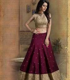 Buy maroon bhagalpuri silk embroided unstitched lehenga choli lehenga-choli online