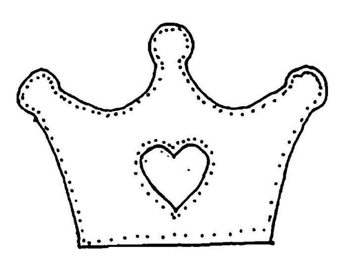 Раскраски Корона  корона с сердечком шаблон, карона шаблон из бумаги