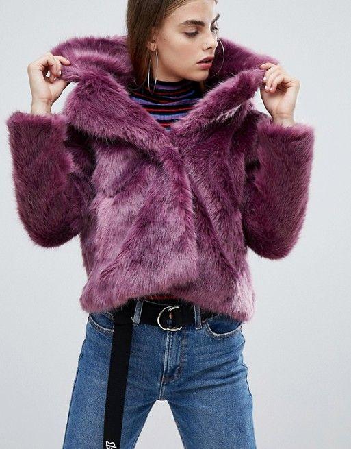 ed3beaa148c4 Bershka fur short jacket in purple in 2019 | ASOS | Fur, Jackets, Coat