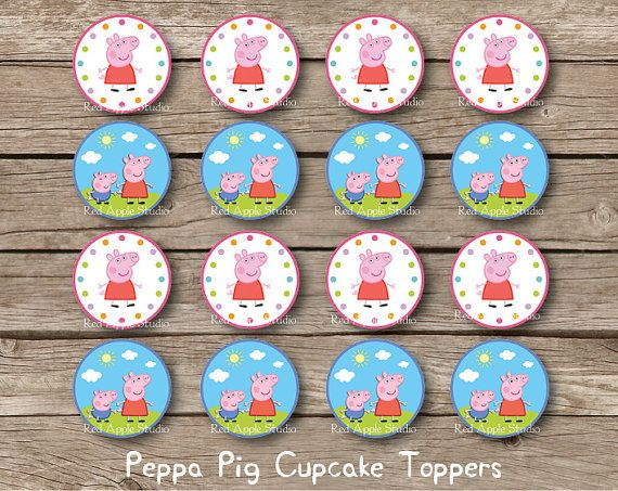 ****INSTANT DOWNLOAD **** NO PHYSICAL ITEM WILL BE SHIPPED! ****    PEPPA PIG/GEORGE PIG CUPCAKE TOPPERS (1.5 inches each)    ♥ You will receive 1