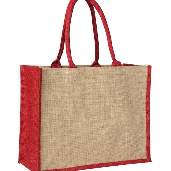 LAMINATED JUTE SUPERMARKET BAG WITH RED HANDLES AND GUSSETS – TB 0137 LJ (CONTRAST RED)  Price includes 1 color, 1 position print   2 Color imprint available for an additional charge
