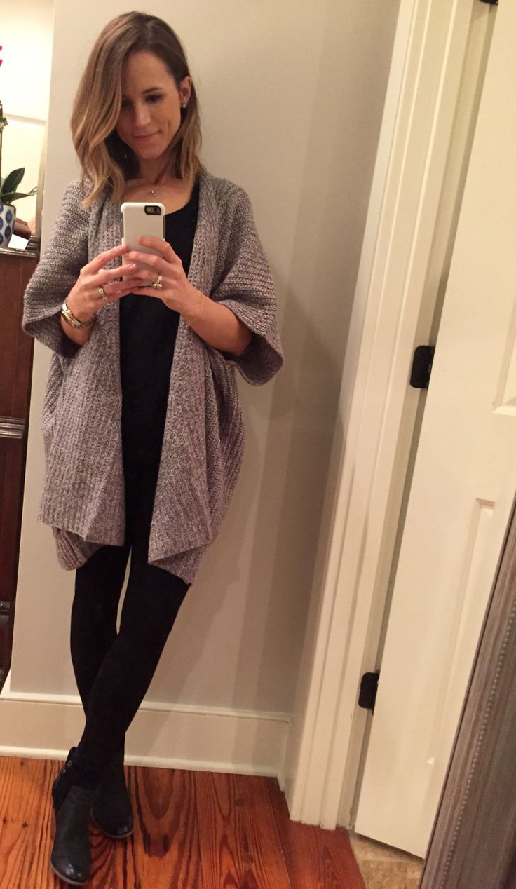 long gray short sleeve cardigan