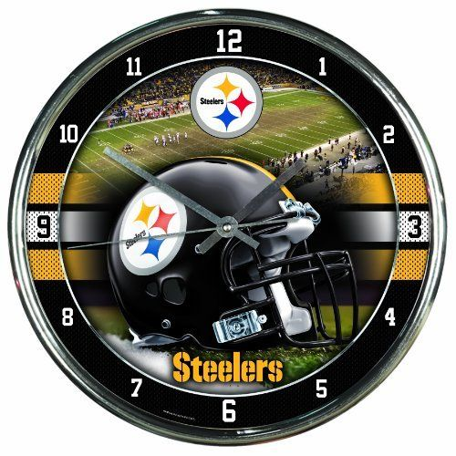 """NFL Pittsburgh Steelers Chrome Clock by WinCraft. $19.99. Officially licensed wall clock. Attention grabbing styling for any room. Shiny Chrome plastic construction with glass lens and metal hands. High quality quartz movement with a sweep second hand. Requires one (AA) battery. Measures 12"""" in diameter. Decorated and Assembled in USA with a China Components"""