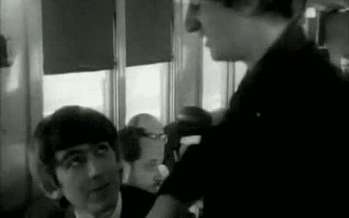 Beatles black and white cute george george harrison  gif
