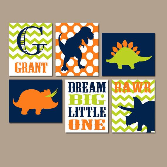 DINOSAUR Wall Art, Canvas or Prints Boy DINOSAUR Decor, Baby Boy Nursery Wall Art, Big Boy Bedroom Pictures, DINO Theme Artwork Set of 6