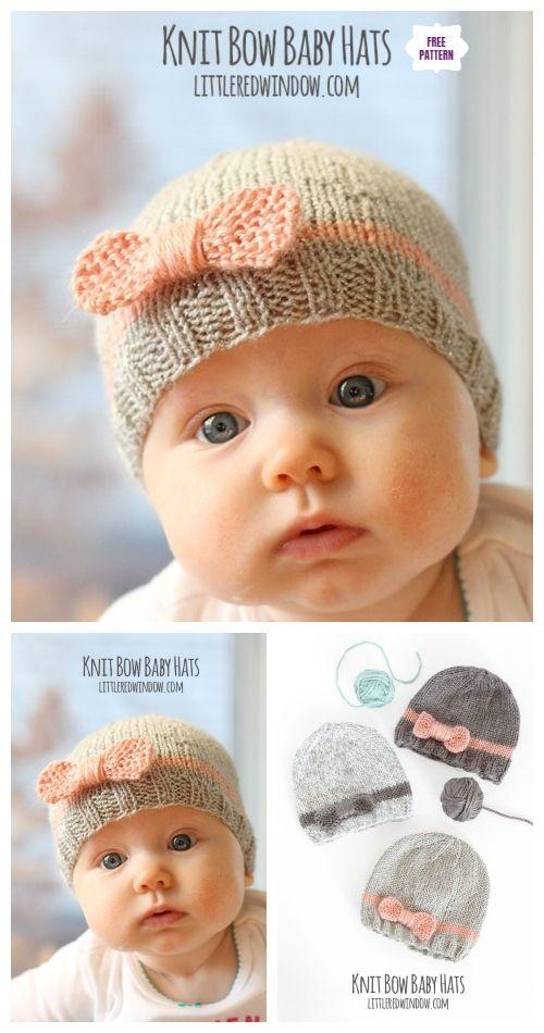 dd63776ac Knit Bow Baby Hat Free Knitting Pattern