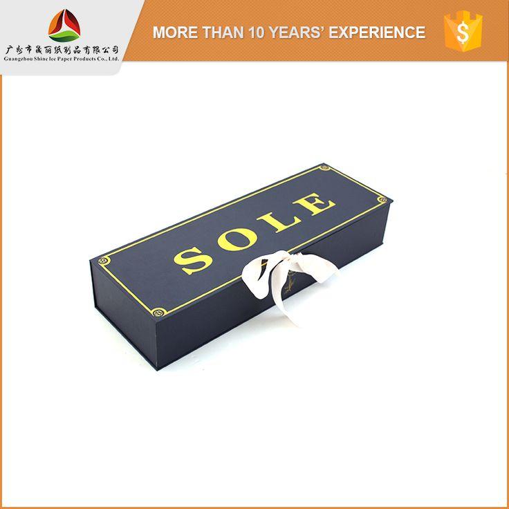 Shinelee custom printing matte black big gift box with ribbon closure