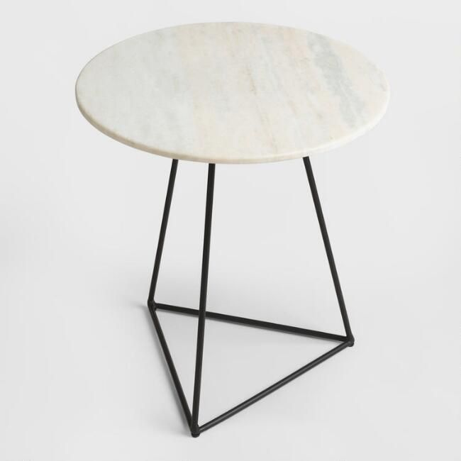 White Marble and Metal Round Accent Table - v1