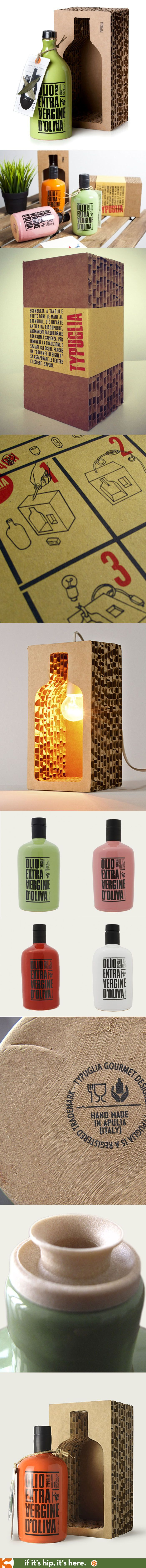 Typuglia Extra Virgin Olive Oils come in handmade ceramic containers packed into a cardboard box that transforms into a light!