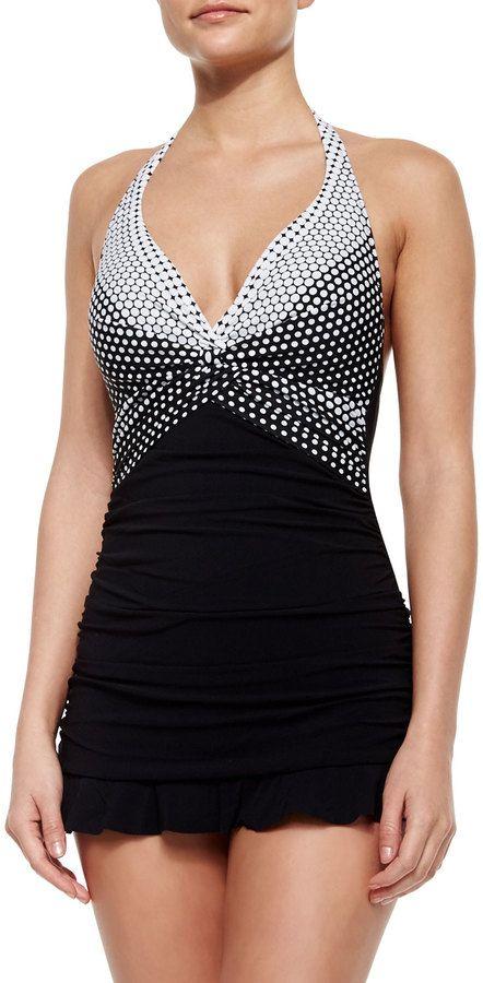 Profile by Gottex Dolce Vita Halter Swim Dress, Black/White