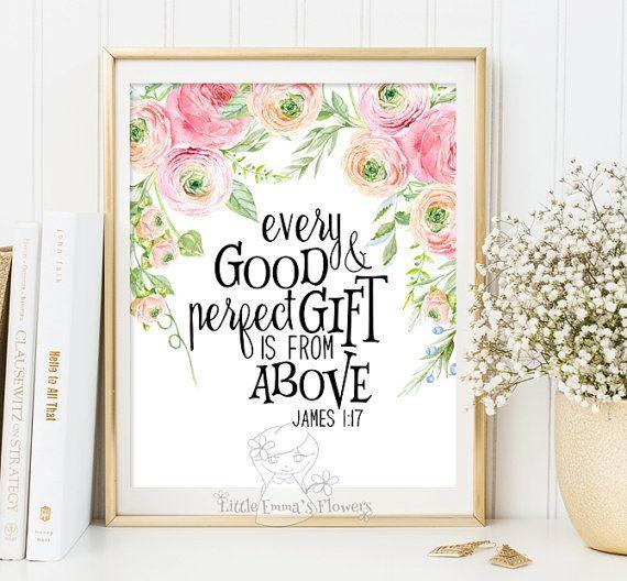 Wall art Bible Verse Art Printable Scripture by LittleEmmasFlowers