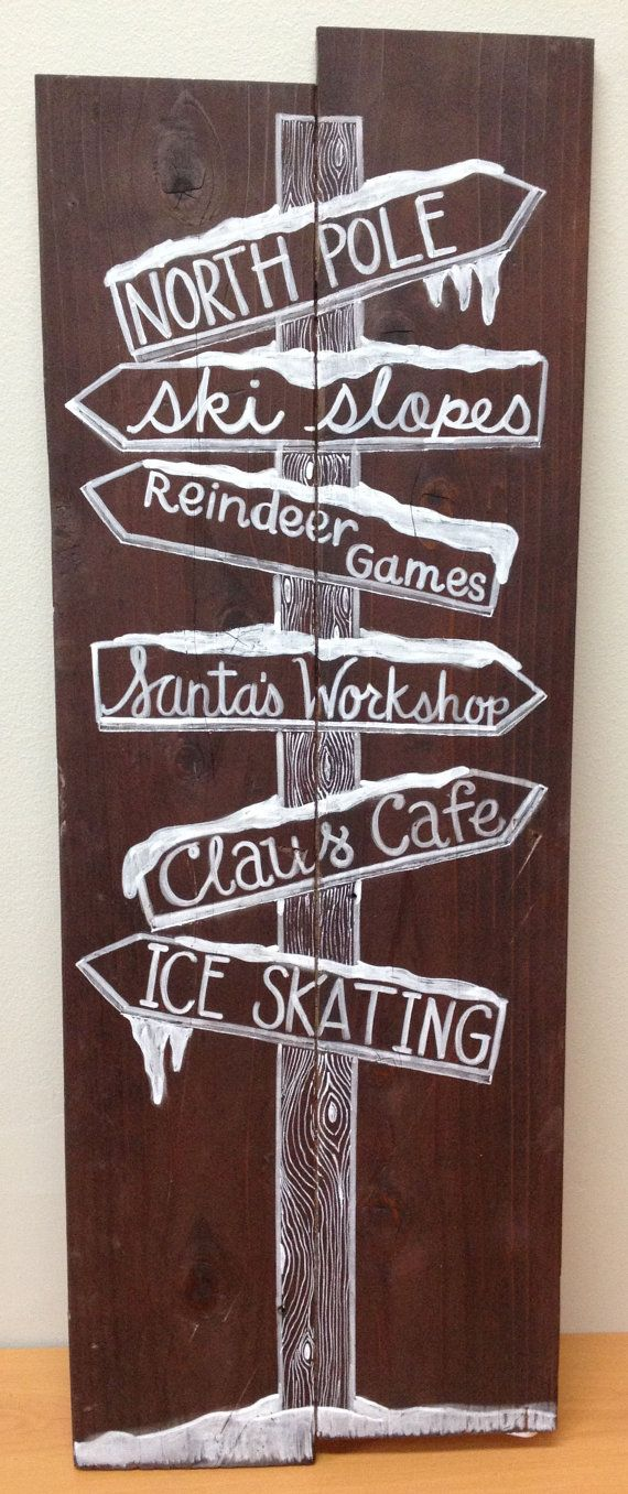 North Pole Sign Post Handmade Holiday Sign by MyaAndMe on Etsy, $40.00