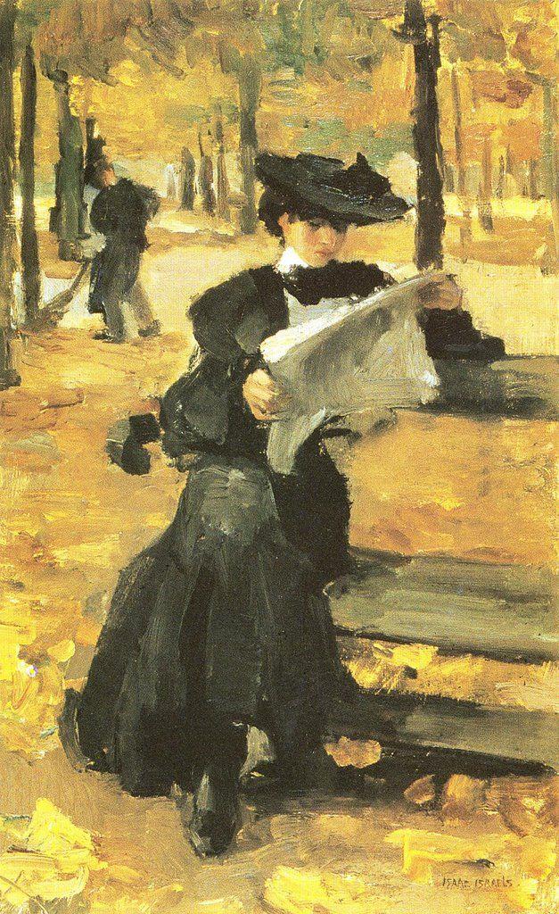 Isaac Lazarus Israëls (Dutch, 1865-1934).  Reading in the park.  Newspaper, books, all good.
