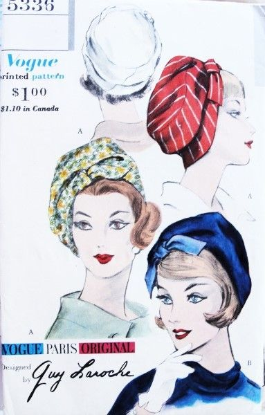 Early 60s RARE Guy Laroche HAT Chapeau Pattern VOGUE PARIS ORIGINAL 5336 Flirty Profile Toque Beret Hat Vintage Sewing Pattern FACTORY FOLDED