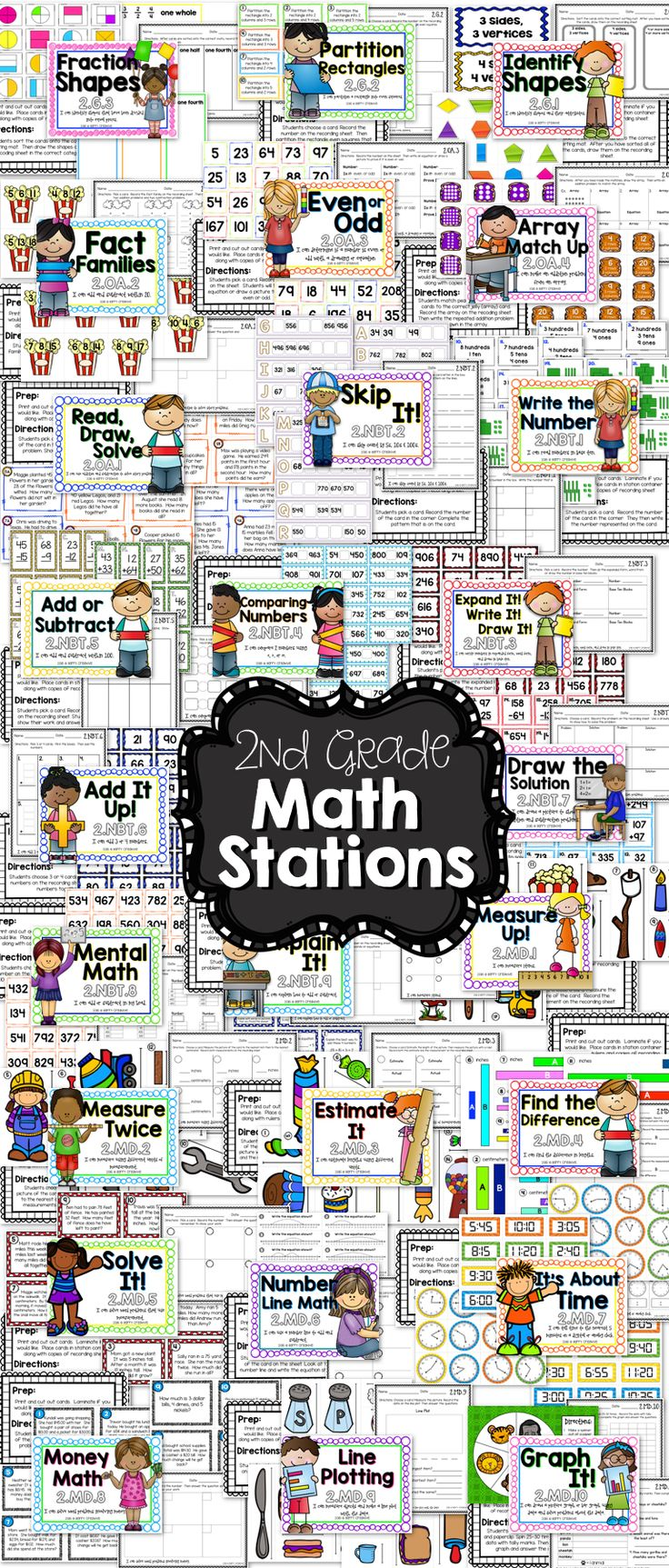 Math Stations for EVERY 2nd Grade CC Math Standard...Less than $1 for each station!