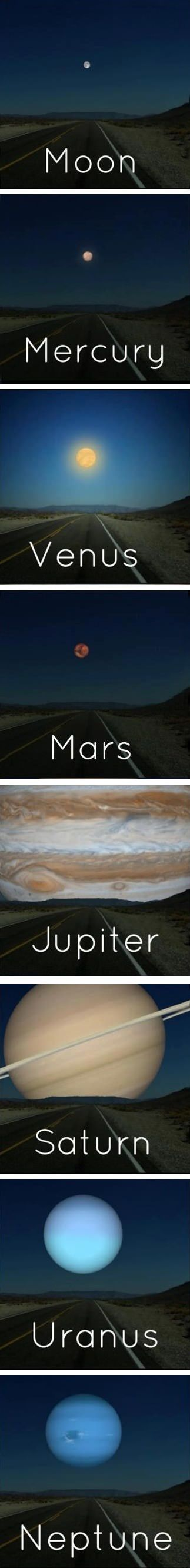 What it would look like if the other planets were as close to Earth as the moon is.