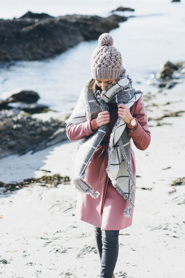 Jess Ann Kirby wearing an Ann Taylor reversible blanket scarf and Reiss textured wool coat