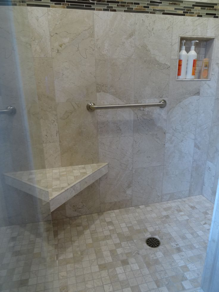 Full Tile Shower With Raindrop Shower Head Stainless