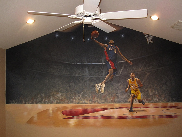 17 best images about boys rooms on pinterest basketball for Basketball mural