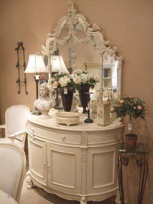 Beautiful French cabinet & rococo mirror