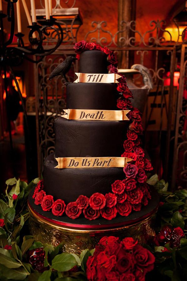 Dracula inspired wedding cake // photo by Photo Pink, cake by Colette's Cakes // http://ruffledblog.com/dracula-inspired-halloween-wedding
