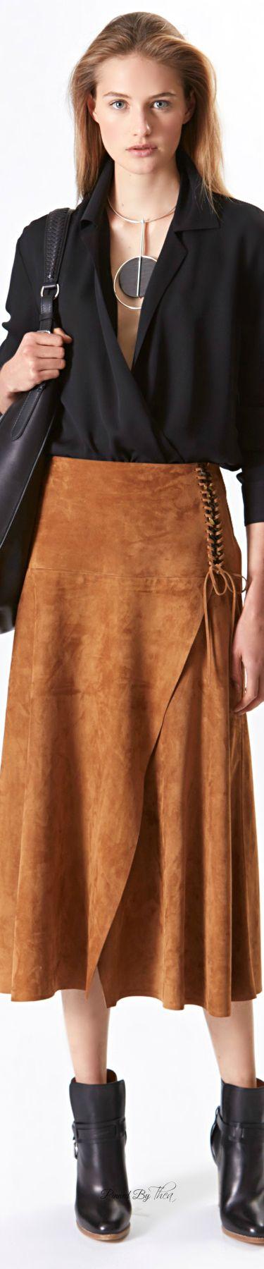 Ralph Lauren ~ Resort Cinnamon Brown Suede Lace-up Maxi Skirt 2016