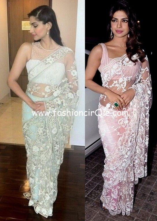 Sonam Kapoor and Priyanka Chopra in  Shehlaa by Shehla Khan Lace Sarees https://www.facebook.com/pages/Shehlaa-by-Shehla-Khan/273135559448280  